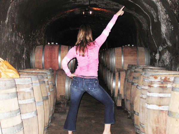 In a wine cave while on tour with Healdsburg Wine Tours